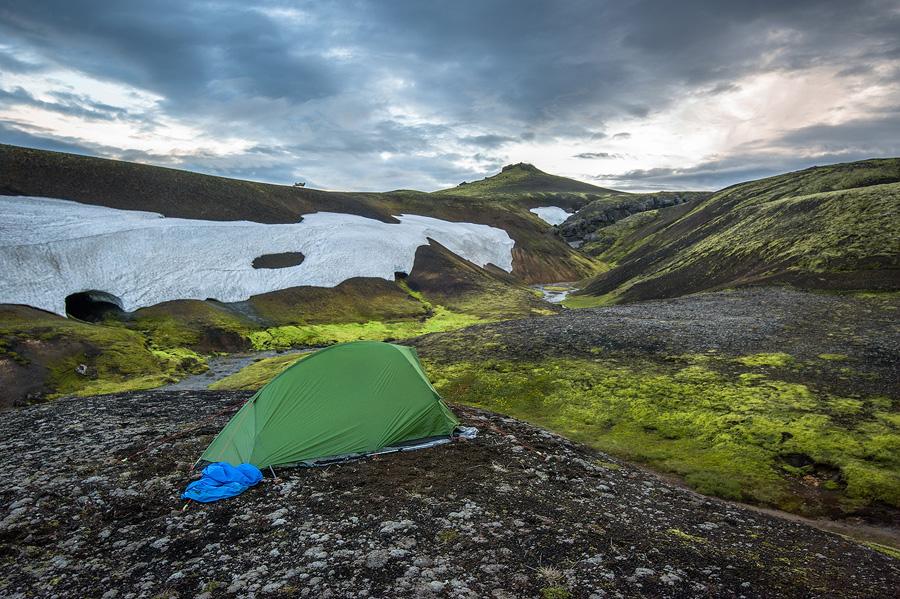 bivouac près d'une source chaude au Landmannalaugar