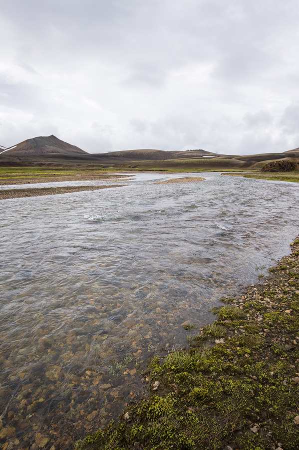 traversée de gué dans le Landmannalaugar