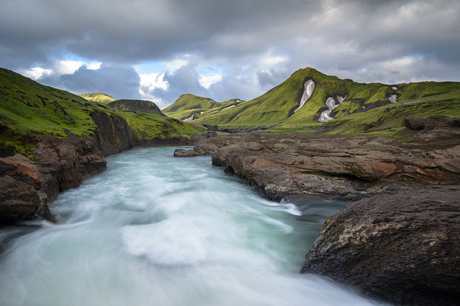 la rivière Markarfljot en pose longue