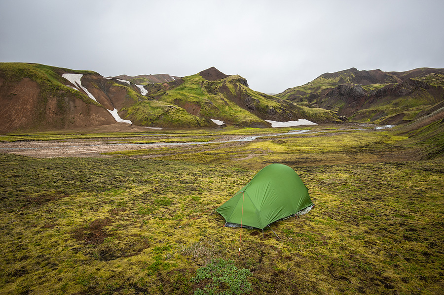 bivouac au bord de la jokulgil en Islande