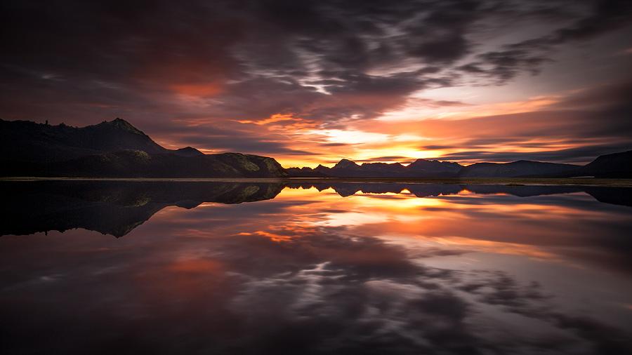 lever de soleil avec reflet près de Faxasund
