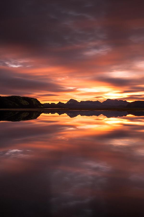 lever de soleil à Ork, faxasund, en Islande