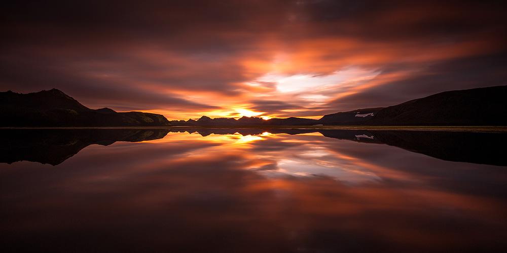 lever de soleil en Islande , reflet miroir, faxasund