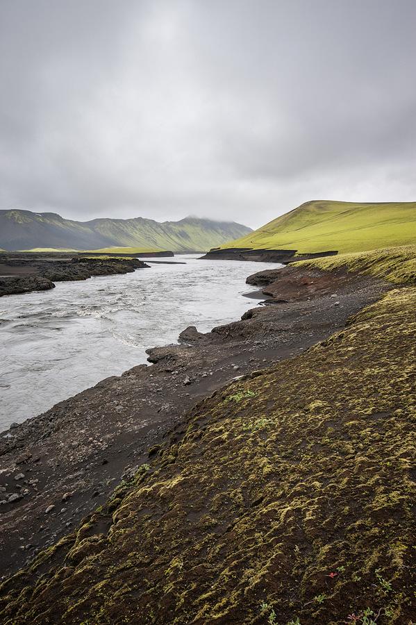 les bords de la Skafta, rivière d'Islande