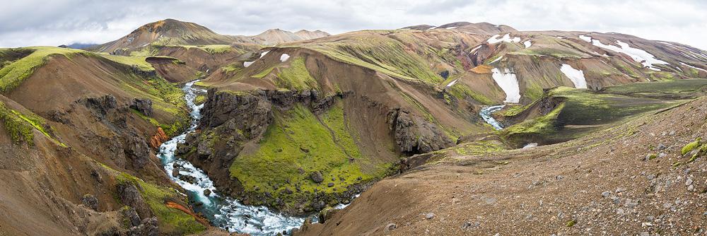 panoramique du canyon de la Markarfljót dans les fjallabaks