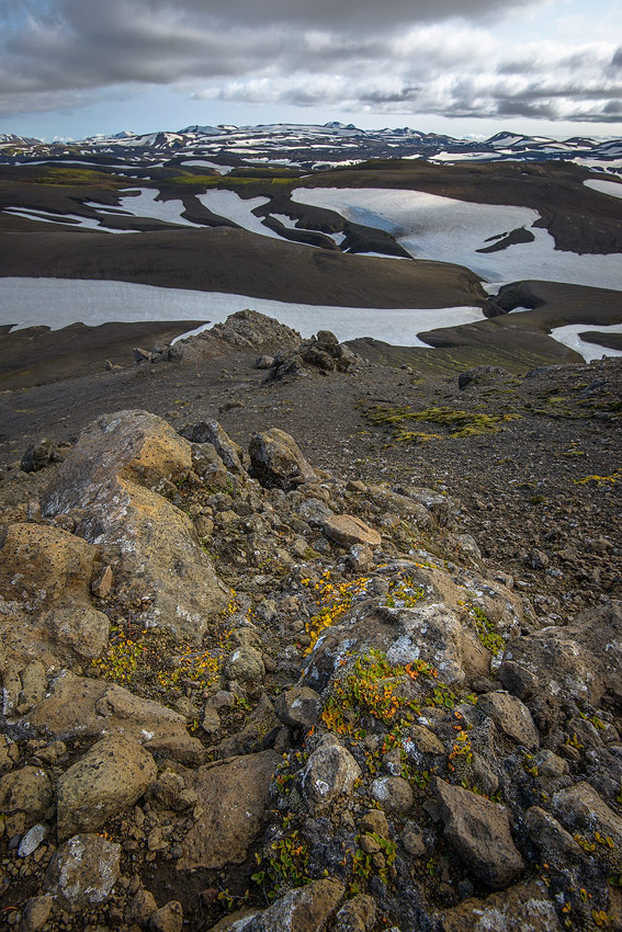 vue du secteur de Hrafntinnusker, dans la réserve de Fjallabak, en Islande