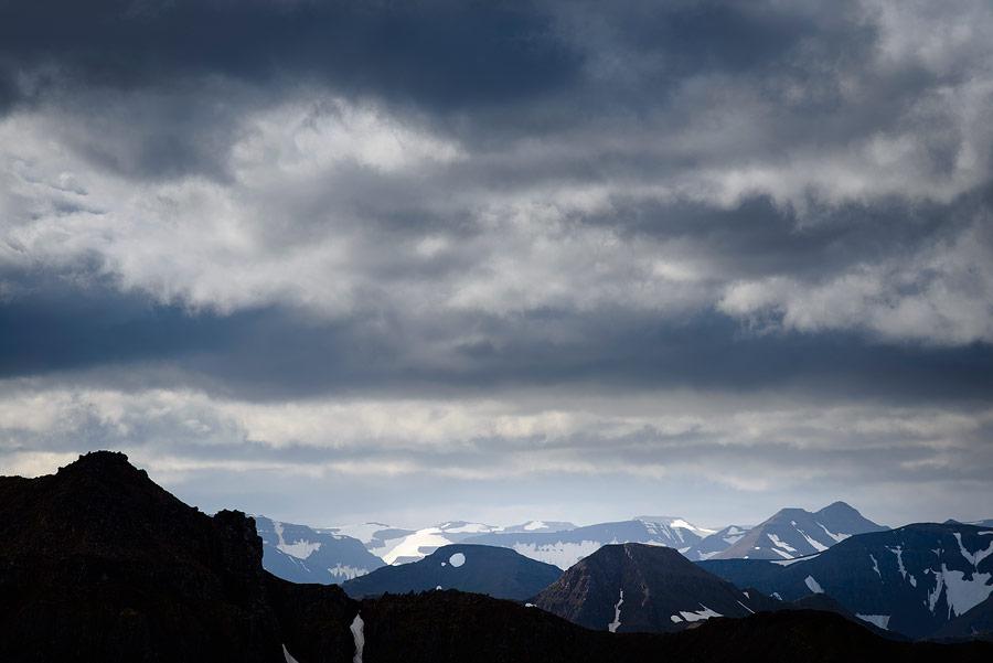 ciel nuageux près de Dalvik au nord de l'Islande