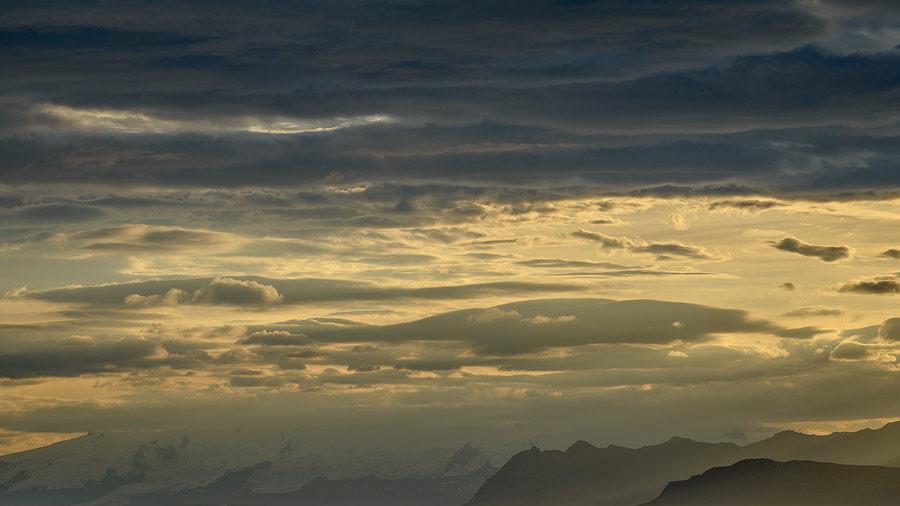coucher de soleil sur la côte sud d'islande depuis Höfn