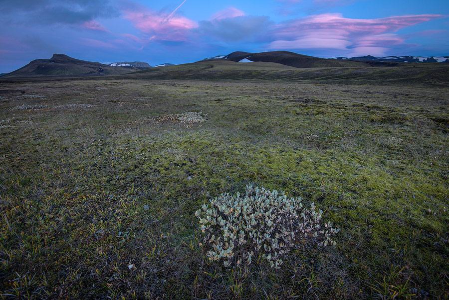 coucher de soleil près de landmanahellir en Islande