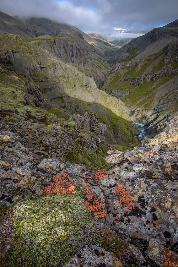 paysage de la vallée de Klukkugil , cote sud de l'Islande