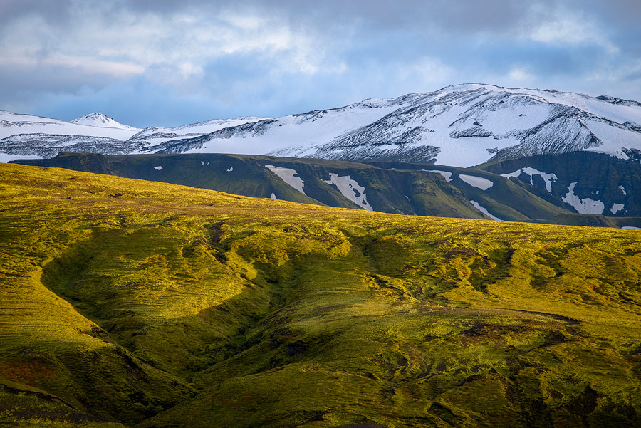 coucher de soleil pres de Thorsmörk en Islande