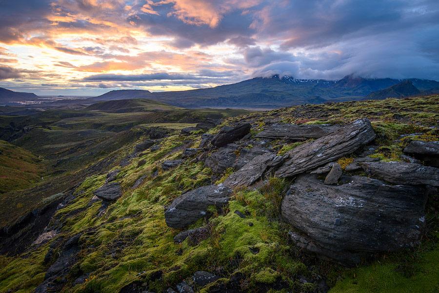 coucher de soleil près de thorsmörk en Islande
