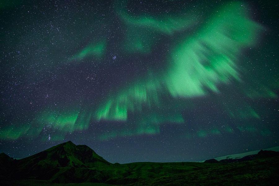 aurore boréale près de thorsmörk en Islande