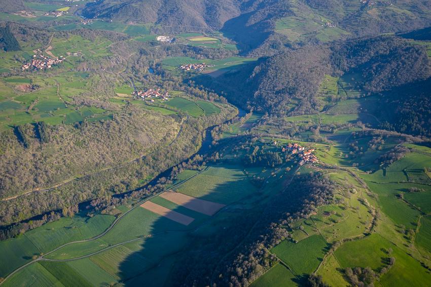 photographie aérienne en Auvergne, la vallée de l'Allier