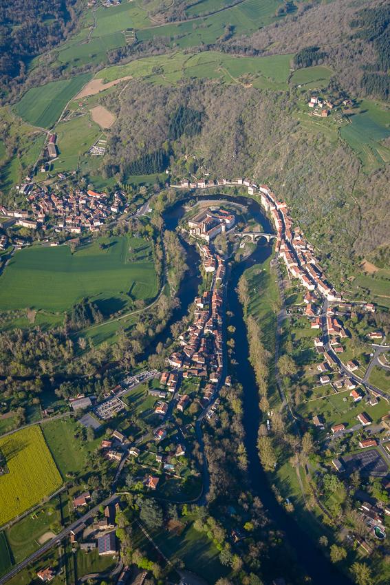 photographie aérienne en Auvergne, le méandre de Lavoûte-Chilhac