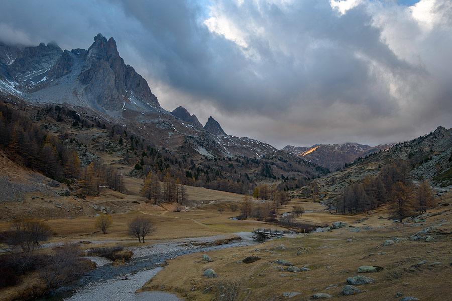 paysage de la vallée de la Clarée, Névache, massif des cerces.