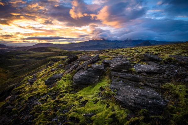 Coucher de soleil dans la vallée de la þrönga à Thorsmörk