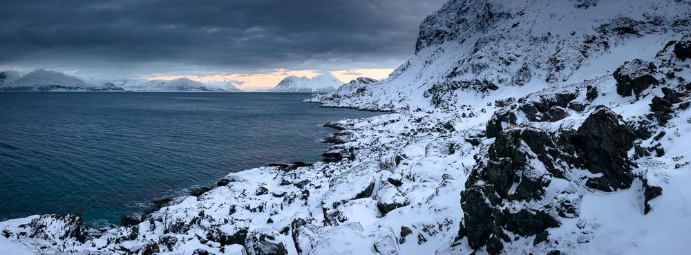 vue sur le fjord de Lyngen depuis le phare de Lyngstuva
